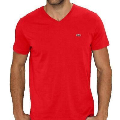 Lacoste Men's Athletic Pima Cotton V-Neck Shirt T-Shirt Pompier Red