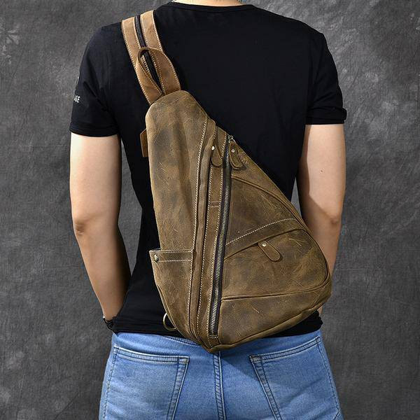 Sale, Horse Leather Men Chest Bag, Vintage Chest Pack Backpack