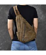 Sale, Horse Leather Men Chest Bag, Vintage Chest Pack Backpack - $145.00