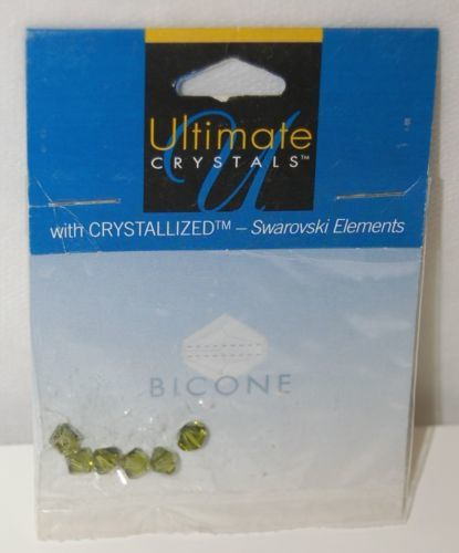 Ultimate Crystals Swarovski Elements Olivine Color Bicone Beads Six Pieces