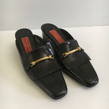 Cole Haan Slip On Mules Black Gold Accent Buckle Retro Look Size 7 - $27.75