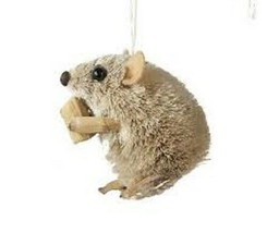 KURT ADLER SET OF 2 BURI BRISTLE SITTING MOUSE w/CHEESE CHRISTMAS ORNAMENTS - $10.88