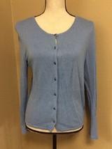 Sigrid Olsen Baby Blue Cardigan Sweater Sz M Silk Rayon Angora Blend - $15.47