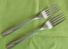 """Capri Stainless 2 Dinner Forks CAP1 Pattern USA 7"""" Swirl Design Satin #9... - $8.66"""