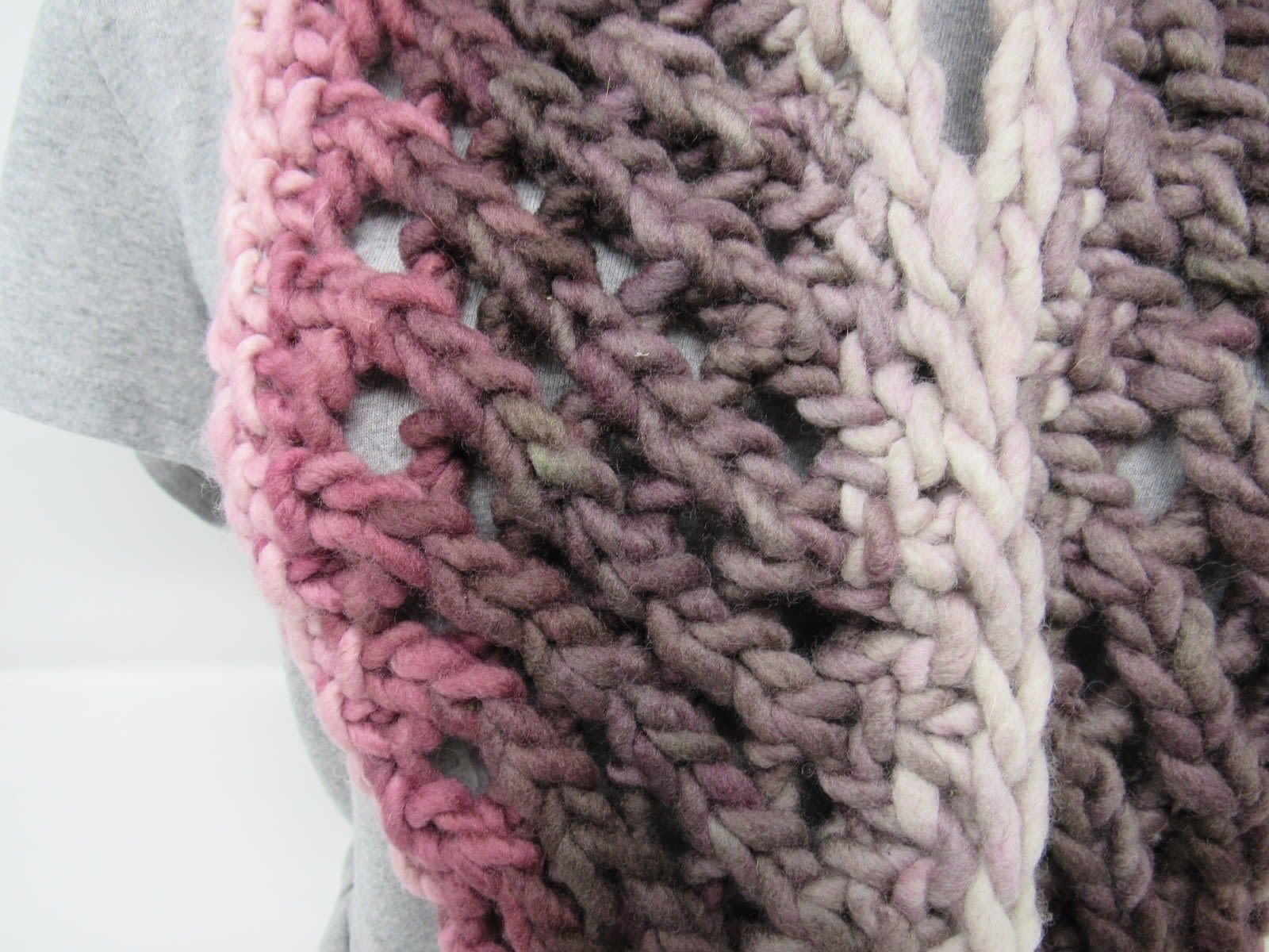 Handcrafted Knitted Cowl Rose/Gray Textured 100% Merino Wool Female Adult