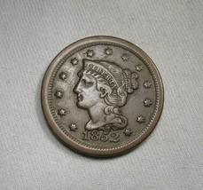 1852 Braided Hair Large Cent XF Coin AJ111 - $66.69