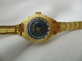 Geneva Watch Gold Toned Round Blue Face Elegant Stylish - $29.00