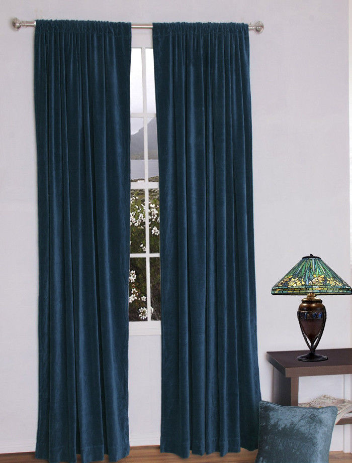 Primary image for Vintage Traditional 100% Blackout Velvet Curtain Lined Drapes 2 Panel-Navy Blue