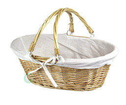 Oval Willow Basket with Fabric Lining and Drop-down Handles, QI003055W - $14.99