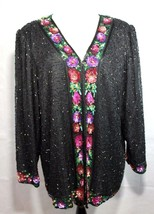 Vintage Laurence Kazar New York women's blouse sequined long sleeve size 2X - $33.33