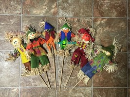 Set of 6 Small Scarecrow Stakes Halloween Fall Thanksgiving Decorations - $17.85