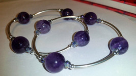 Genuine Amythest and Sterling Silver Metaphysical Blessings Bracelet- Pu... - $25.00