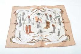"HERMES Scarf handkerchief """"A Propos des Bottes"""" Beige 100% Silk Auth k... - $260.00"