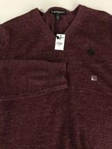 Express Men Sweater V Neck 100% Cotton Maroon Pullover Jumper Medium M New! - $27.76