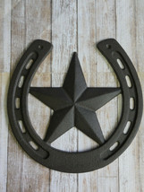 Lucky Horseshoe With Texas Star Cast Iron Western Wall Decor Large Size ... - $23.33
