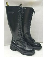 Dr Doc Martens Boots 1420/92 Vintage 20 Eye Tall High Boots Black Womens... - $199.80