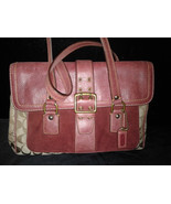 Coach Special Limited Edition Signature C Burgundy Wine Tote Satchel-7065 - $199.00