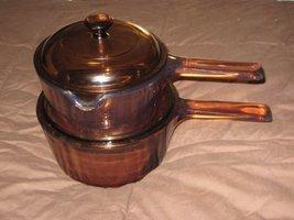 4 PIECE SET - Vintage Corning Visions Vision Ware Amber 1.5 Liter & 1 Liter Glas - $108.36