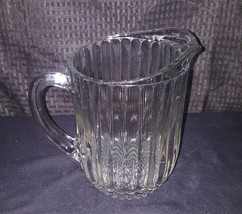 8'' Vintage Clear Glass Beer Or Water Pitcher Restaurant Duty - $23.99