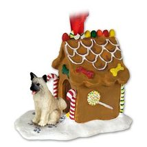 Akita Fawn Ginger Bread House Ornament Ornament - $17.99