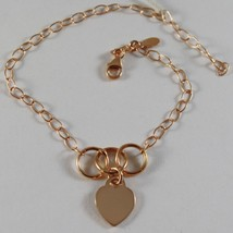 18K Rose Pink Gold Bracelet 7.10 Inches With Heart And Circles, Made In Italy - $349.60