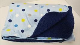 Just Born Blue white tan  green polka dots spots Sherpa Back Baby Blanket  - $17.81