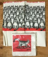 NOS Vintage B KLIBAN CAT 8' Paper TABLECLOTH & 16 RED Sneaker NAPKIN Party Set - $29.69