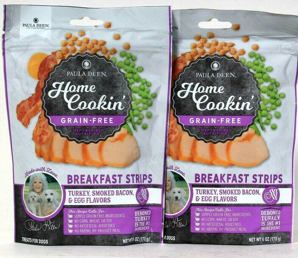 Primary image for 2 Bags Paula Deen 6 Oz Home Cookin Grain Free Breakfast Strips Turkey Bacon Egg
