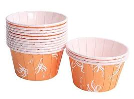 50 Cute Creative Durable Cake Baking Disposable Cups, Orange Bottom And Bow - $26.25