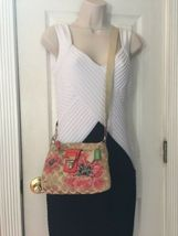 Coach Crossbody Bag  Poppy Flower Sequin Limited Edition Floral Beige  47075 B9 image 6