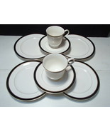8 PIECE LUNCH SET MIKASA BLACK TIE BONE CHINA - $19.95