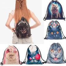 Drawstring Storage Bag 3D Cat Printed Women New Digital Fashion Travel B... - $6.99