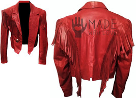 Women's Western Red Color Fringes Ladies Native American Handmade Leather Jacket - $149.99+