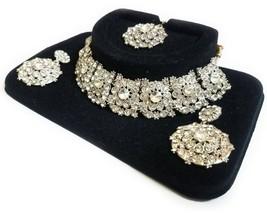 Indian Bridal Silver Choker Necklace, Earrings & Maang Tikka Set, Silver... - $20.47