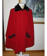 Le Moda Red Cape Poncho Rosette Trim Pockets One Size 4817-417 - $39.99