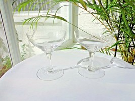 Set of 2 Noritake Rose Pattern Clear Crystal Champagne Glasses - $24.74