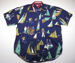 90s Tommy Hilfiger Button Up Sailing and Nautical Themed Shirt Adult Size Medium - $71.24