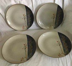 "222 FIFTH 4 DINNER PLATES TAINE Elegant Asian Stoneware 10.5"" Beige Blue... - $69.29"
