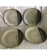 "222 FIFTH 4 DINNER PLATES TAINE Elegant Asian Stoneware 10.5"" Beige Blue... - $69.29"