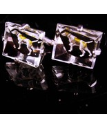 Dog Cufflinks - Crystal glass -  Vintage swank reverse painted - Canine ... - $165.00