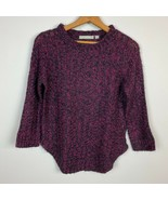 NY Collection Sweater S Open Knit Marbled 3/4 Sleeve Scoop Hem Womens Small - $12.59