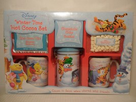 Disney's Winter Time Hot Cocoa Set Winnie the Pooh 2 mugs canister - £15.45 GBP