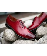 Mens Beautiful Burgundy Leather Brogue Formal Lace Up Handmade Shoes - $156.73