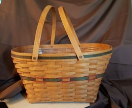 Longaberger 1992 Holiday Hostess Green Gift Giving Basket Large With Protector - $39.95