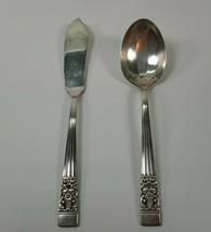 1936 Oneida Coronation Sugar Spoon & Master Butter Knife Community Silve... - $9.99