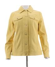Denim & Co Agneau Cuir Veste Jeans Boutons-Avant Lumière Du Soleil Jaune... - $138.35