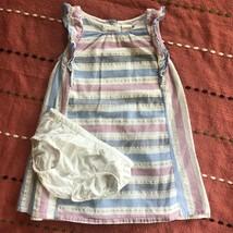 Gymboree 3T Toddler Girl Cotton Summer Dress Blue Pink Metallic Stripe P... - $17.99