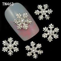 10pcs Snowflake GlitterRhinestones Jewelry Metal Alloy Nail Art Decorati... - $10.65