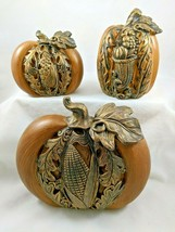 Set of 3 Harvest Pumpkins Varied Sizes Faux Wood Bronze Decor Fall Thank... - $24.99