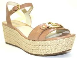 Women's Michael Kors Racquel Espadrille Wedge Sandal Leather Suntan US 9.5 - $71.27